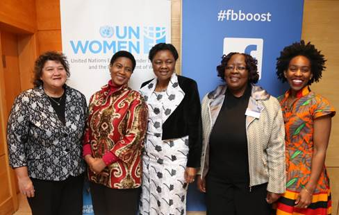 Ffrom left to right: Lynne Brown, Minister of Public Enterprises; Phumzile Mlambo-Ngcuka, UN Women Executive Director and UN Under-Secretary-General; Prof Hlengiwe Buhle Mkhize is the Deputy Minister of Telecommunications and Postal Services; Elizabeth Thabethe, Deputy Minister of Small Business Development for the Government of South Africa; Ebele Okobi, Head of Public Policy Facebook, Africa