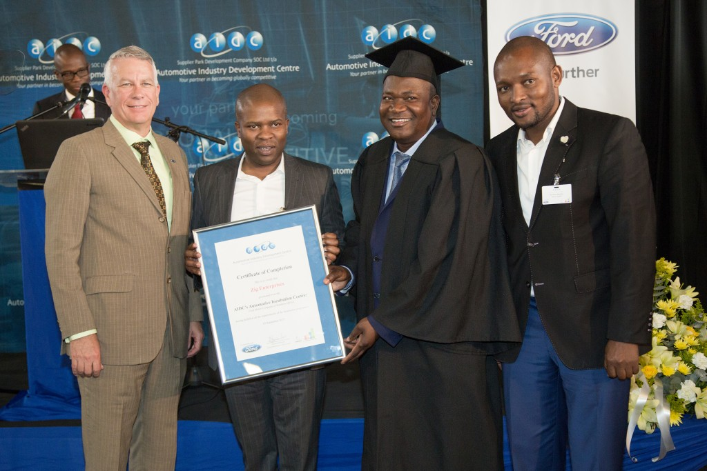 Jeff Nemeth, President and CEO of Ford Sub Saharan Africa region, Lebogang Maile, Gauteng's MEC for Economic, Environment, Agriculture and Rural Development, Incubatee Graduate Caiphus Mokotedi and Cllr Aaron Maluleka, Chairperson of Oversight Committee: Economic Development and City Planning, City of Tshwane
